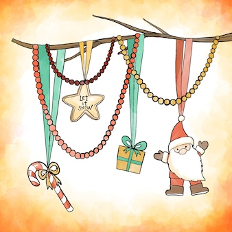 Watercolor christmas decoration concept