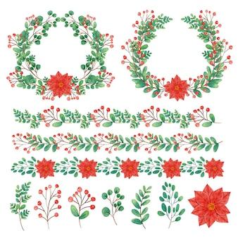 水彩のクリスマスの装飾イラスト