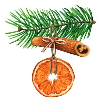 Акварельные рождественские украшения апельсин и корица