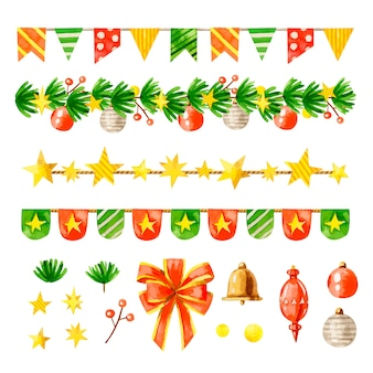 Watercolor christmas decoration pack