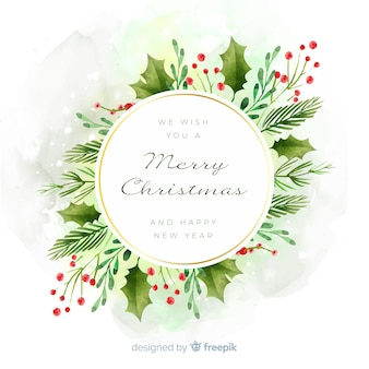 Watercolor christmas decoration with frame