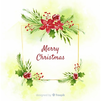 Watercolor christmas decoration with greeting
