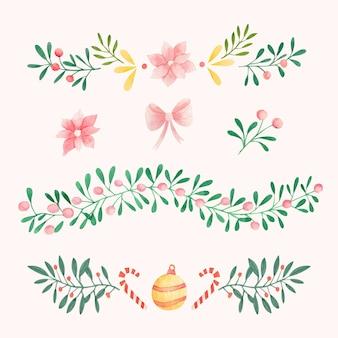 水彩のクリスマスデコレーション