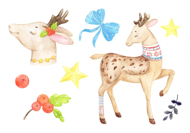 Watercolor christmas deer for design and bow and stars