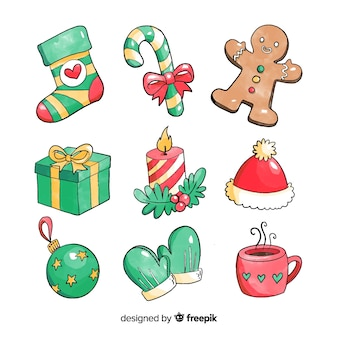 Watercolor christmas element collection