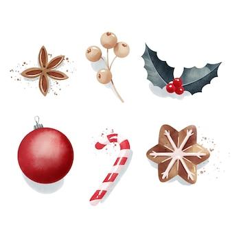 水彩のクリスマス要素コレクション
