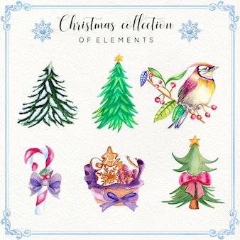 Коллекция акварельных рождественских элементов