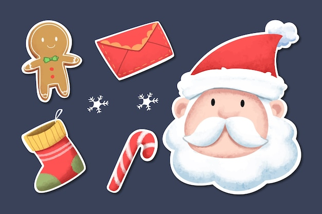 Watercolor christmas element stickers set