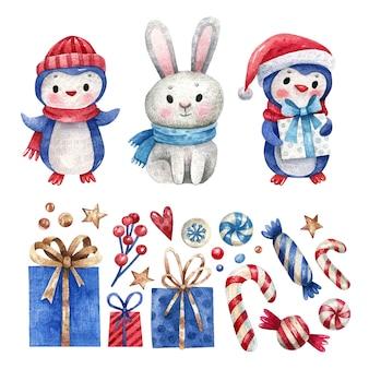 水彩のクリスマスの要素と動物のセット