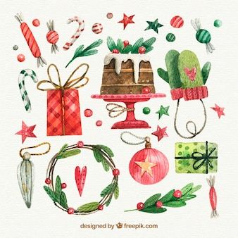 Watercolor christmas elements collection