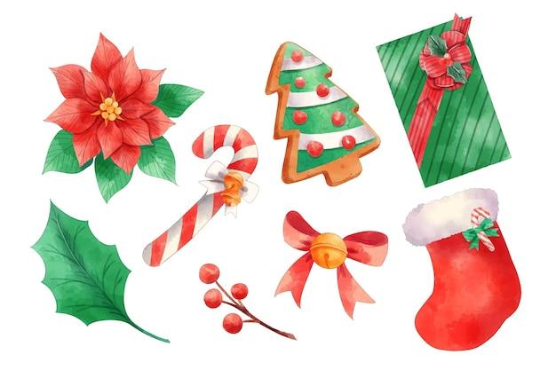 Collezione di elementi natalizi ad acquerello
