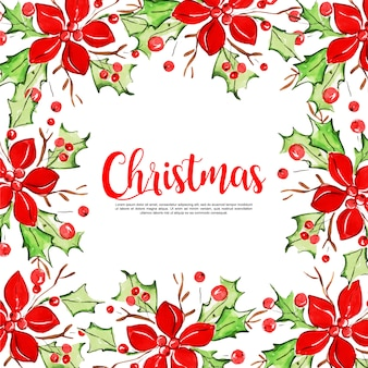 Watercolor christmas elements frame background
