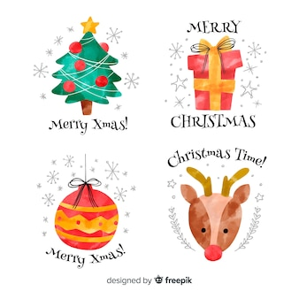 Watercolor christmas elements label collection