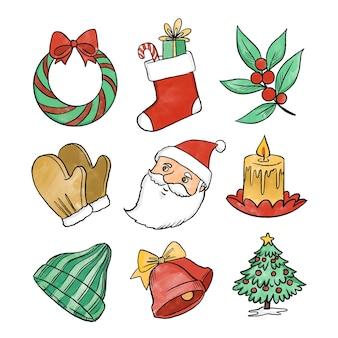 水彩のクリスマス要素パック