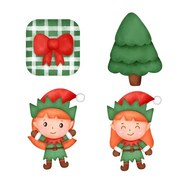 水彩のクリスマス要素
