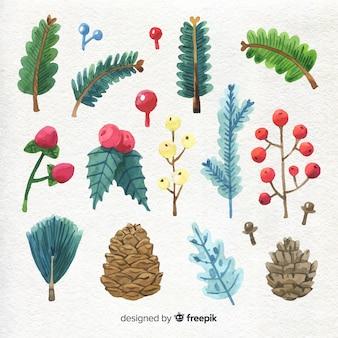 Watercolor christmas elements