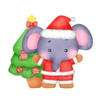인사말 카드에 대 한 수채화 크리스마스 코끼리입니다.
