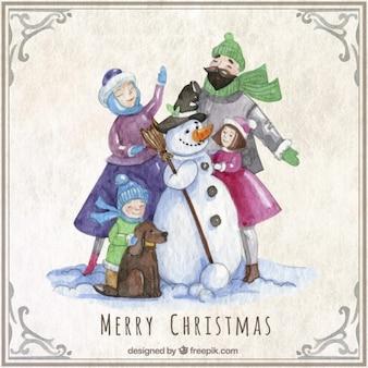 눈사람 수채화 크리스마스 가족