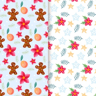 Watercolor christmas festive pattern set