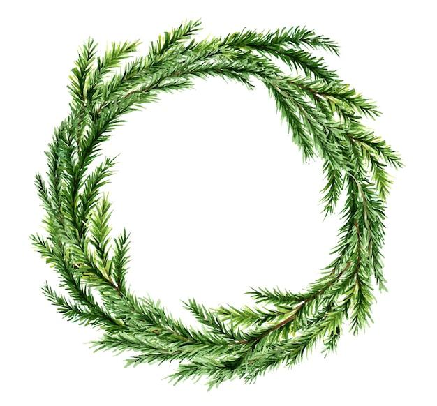 Акварельный рождественский еловый венок без декора