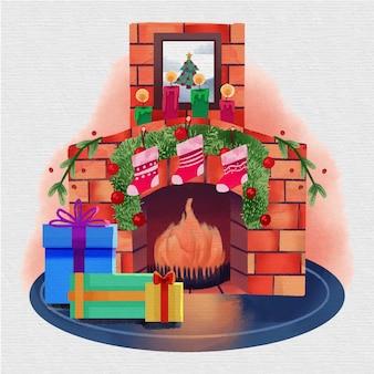 Watercolor christmas fireplace scene