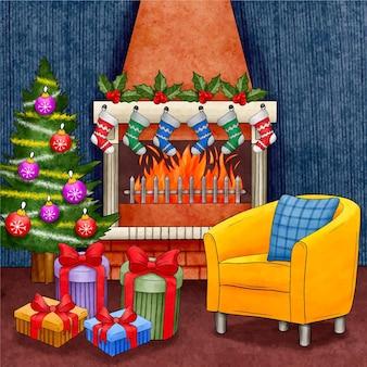 水彩のクリスマス暖炉のシーン