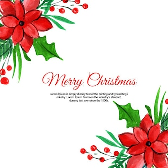 Watercolor christmas floral background