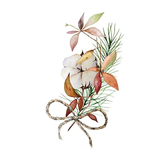 Watercolor christmas floral bouquet with cotton and pine tree branches.