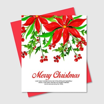 Watercolor christmas floral cards