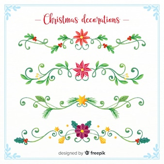 Watercolor christmas floral decoration collection