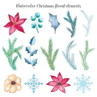 Акварельные рождественские цветочные элементы
