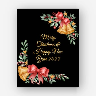 Watercolor christmas floral frame with leaves, berry and christmas light ball