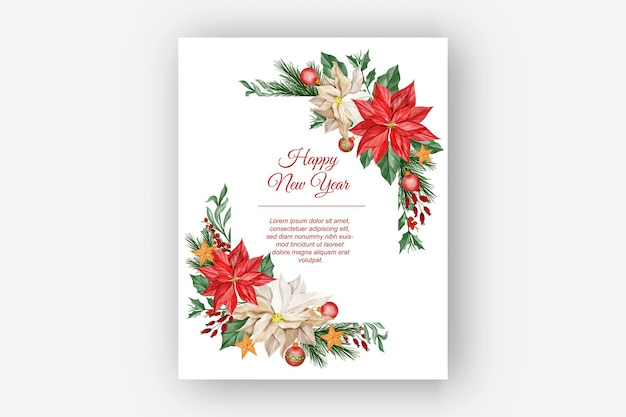 Watercolor christmas floral frame with poinsettia flower, leaves and christmas light ball