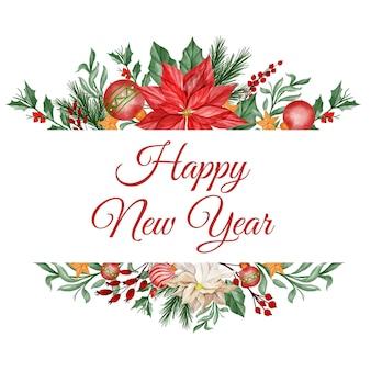 Cornice floreale natalizia ad acquerello con fiore di poinsettia, foglie e palla luminosa di natale