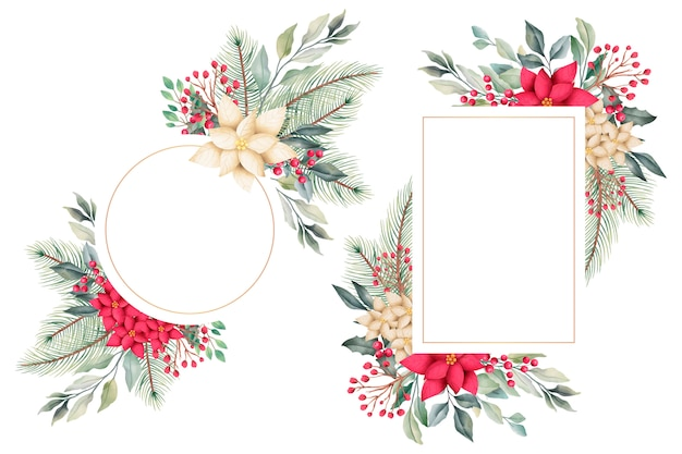 Watercolor christmas floral frames with winter nature