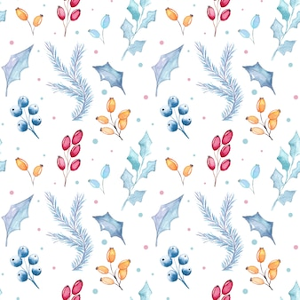 Watercolor christmas floral seamless pattern