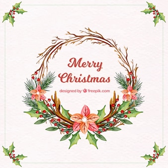 Акварель рождественские цветочные венок фон
