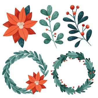수채화 크리스마스 꽃 및 화환 컬렉션