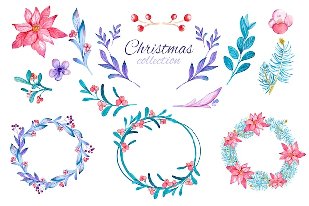 Коллекция акварельных рождественских цветов и венков