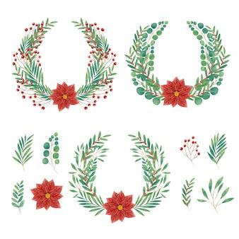 水彩のクリスマスの花と花輪のコレクション
