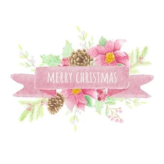 Акварель рождественский букет цветов с лентой для текста