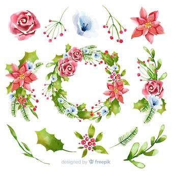 Collezione di fiori e ghirlande di natale ad acquerello
