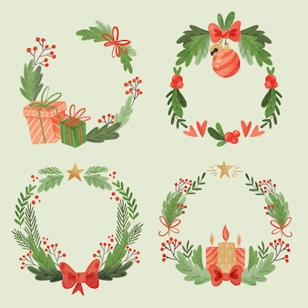 Watercolor christmas flower & wreath collection