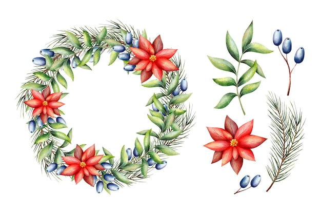 水彩のクリスマスフラワー&リースコレクション