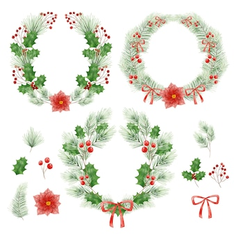 Watercolor christmas flower and wreath collection