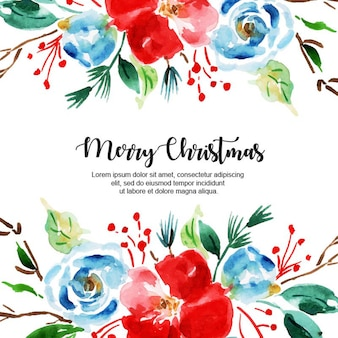 Watercolor christmas frame background