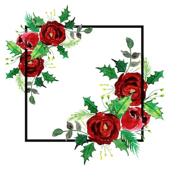 Watercolor christmas frame design