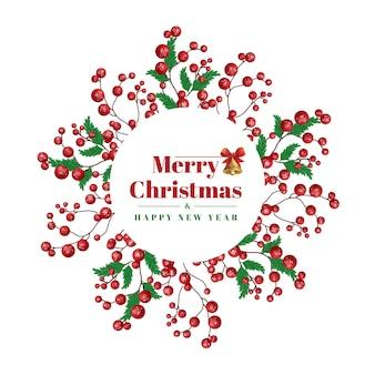 녹색 잎과 빨간 공 수채화 크리스마스 프레임 로고