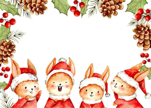 Акварельная новогодняя рамка с кроликами и цветочными орнаментами