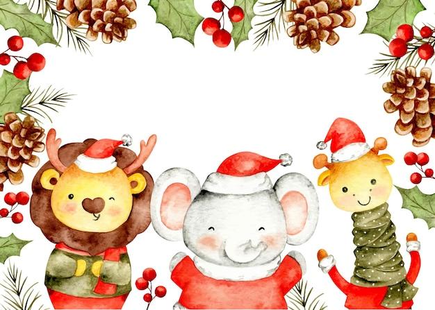 サファリの動物と花の装飾品と水彩のクリスマスフレーム